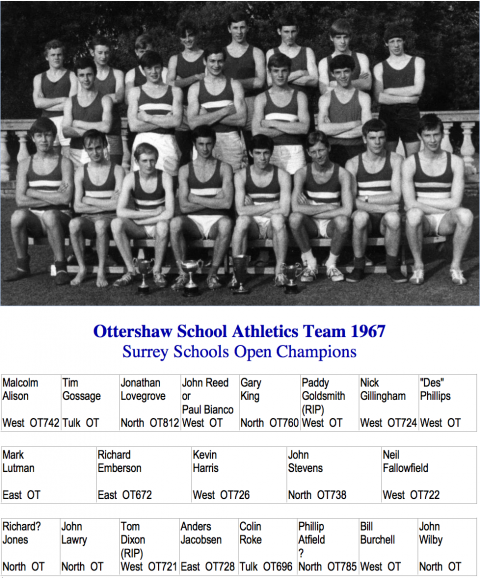 1967 Athletic Team with Names
